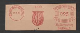 Deutsches Reich Briefstück Mit Freistempel Beuthen Oberschlesien 1933 Stadtverwaltung Beuthen Schlesien Bergarbeiter - Affrancature Meccaniche Rosse (EMA)