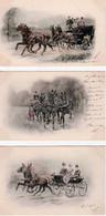 ATTELAGES   DIVERS  , Avec  Chevaux  -  LOT  DE  7  CPA   (   3 SIGNÉES   VIENNE  &  4  E.S.W. -( 21 / 2 / 107  ) - Paarden