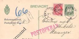 NORWAY - BREVKORT 5 ÖRE 1910 CHRISTIANIA > STAVANGER  //G178 - Enteros Postales