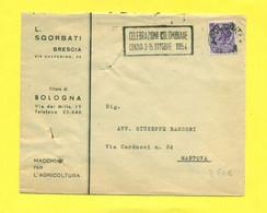 TARGHETTE-STORIA POSTALE-ANNULLI A TARGHETTA-ISOLATI SU BUSTA-MARCOFILIA-SIRACUSANA-BRESCIA - 1946-60: Poststempel