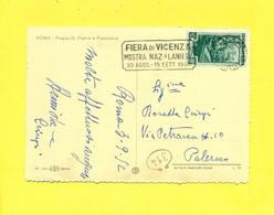 TARGHETTE-STORIA POSTALE-ANNULLI A TARGHETTA-ISOLATI SU SU CARTOLINA-MARCOFILIA-ITALIA AL LAVORO-ROMA - 1946-60: Poststempel