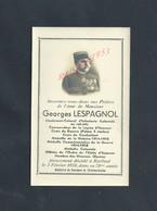 MILITARIA FAIRE PART DE DECÉS MILITAIRE SOLDAT GEORGES LESPAGNOLE DIVERS MEDAILLES Inf COLONIALE DÉCÉDÉ À BAILLEUL : - Obituary Notices
