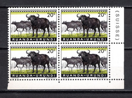 RUANDA-URUNDI   N° 206  BLOC DE QUATRE TIMBRES  NEUF SANS CHARNIERE   COTE 0.60€   BUFFLE ANIMAUX - 1948-61: Neufs