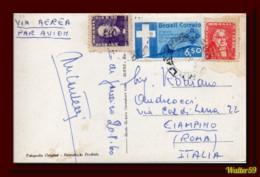 1960 Brasil Brazil Postcard Panorama Botafogo Air Mail Sent Rio To Italy Cp 2scans - Cartas