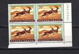 RUANDA-URUNDI   N° 208  BLOC DE QUATRE TIMBRES  NEUF SANS CHARNIERE   COTE 0.60€   IMPALA ANIMAUX - 1948-61: Neufs