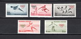 RUANDA-URUNDI   N° 219 à 223    NEUFS AVEC CHARNIERES   COTE 3.50€   JEUX OLYMPIQUES ROME FOOTBALL - 1948-61: Neufs