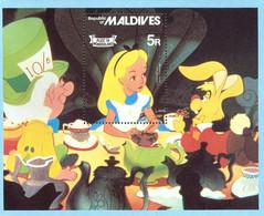MWD-BK5-280-1 MINT PF/MNH ¤ MALDIVES 1979 BLOCK ¤ THE WORLD OF WALT DISNEY -- ALICE IN WONDERLAND - Disney