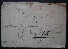 Nice 1827 Nizza + T.F En Rouge Sur Lettre Pour Ath Hainaut, Madame De Rouillé Douairière - 1801-1848: Precursors XIX