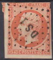 FRANCE : EMPIRE NON DENTELE N° 16 TTB OBLITERATION BUREAU DE PARIS DS1 - 1853-1860 Napoléon III