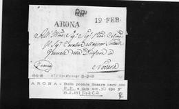 CG8 - Lettera Da San Maurizio D'Opaglio Per Novara 18/2/1829 - Annullo Di Arona - ...-1850 Préphilatélie