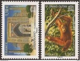 France - Timbre De Service N° 169 Et 170 ** Unesco 2017 - Orang-Outan Et Samarkand-Ouzbekistan - Nuevos