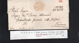 CG8 - Lettera In Carta Bollata C. 30 All'Intendente Generale Di Novara Del 29/3/1837?? - Annullo Di Arona - ...-1850 Préphilatélie