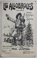 Chant Militaire Chasseurs Alpins Ancienne Partition De Musique Les Allobroges Chant Patriotique Savoie - Documenten