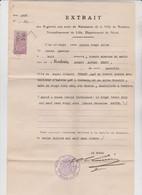 Généalogie Extrait Acte Naissance De Robert Alfred Ferret Né 1896 à Roubaix (59)  Broutin Signé Lebas Timbre Fiscal 5,40 - Unclassified