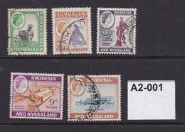 Rhodesia And Nyasaland 1959 5 Values To 2s6d - Rhodesien & Nyasaland (1954-1963)