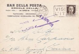 """LA SPEZIA - CARTOLINA COMMERCIALE """"BAR DELLA POSTA"""" ERCOLE CELLA - PIAZZA VERDI - PASTICCERIA - TORREFAZIONE CAFFE'-1940 - La Spezia"""