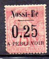 Nossi-Bé: Yvert N° Taxe 17*; Coin Arrondi - Unused Stamps