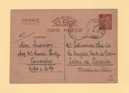 Type Iris - Carte Interzonne - Vandieres - Meurthe Et Moselle - 1941 - 1921-1960: Période Moderne