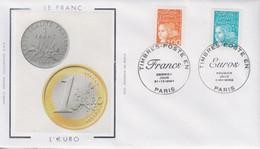 Enveloppe  FDC  1er  Jour   FRANCE   Passage  Du   Timbre  En  Euro    2002 - 2000-2009