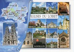 CPM Géographique - 45 EGLISES DU LOIRET. Briare, Orléans, Pithiviers, Lorris, Sandillon, Cléry, Multi Vues - TBE - Cartes Géographiques