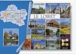 CPM Géographique - 45 LE LOIRET. Briare, Sully, Chamerolles, Chateauneuf, St Benoit, Montargis, Multi Vues - TBE - Cartes Géographiques