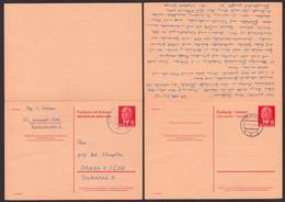 Germany East DDR P65a 15 / 15 Pfg. Komplett GA-Karte Schwedt Prag Praha Beide Teile Gestempelt 1968 - Postales - Usados