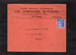 LSC 1939 Pour Nantes - Entête LES COMPTOIRS MODERNES - LE MANS - YT 368 - 1921-1960: Periodo Moderno