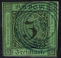 66 Jestetten In Blau Auf 3 Kreuzer Grün - Baden Nr. 6 - Briefstück - Tief Geprüft BPP - Bade