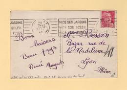 Marianne De Gandon - 3f Seul Sur Carte Postale 5 Mots - 20 Sept 1948 - Dernier Jour Du Tarif - Nice - 1921-1960: Moderne