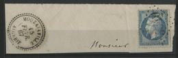 """N° 22 Obl GC """"5045"""" + C. à D. Perlé """"MOUZAIAVILLE ALGERIE 15/2/67"""" Cote 60 € Sur Un Petit Fragment. - 1849-1876: Klassik"""