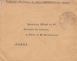 Env  En Franchise Obl GENIE CHEFFERIE  DE LANGRES Adressée à Paris - Sellos Militares Desde 1900 (fuera De La Guerra)