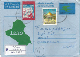 Iraq 1995 Hurriya Saddam Canal Michel 1535 Overprint Palestine Dome Aerogramme Via Kenya Cote D'Ivore To Cameroon - Irak
