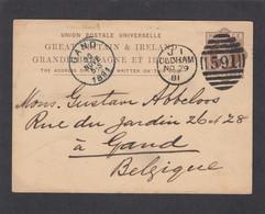 ENTIER POSTAL D'OLDHAM POUR GAND,1881. - Entiers Postaux