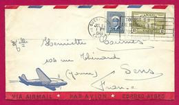 """Enveloppe """"Par Avion"""" Datée De 1949 - Voyagée De La Province De Québec Au Canada à Destination De Sens En France - Cartas"""