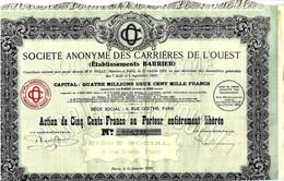 RARE 1920 SOCIETE ANONYME DES CARRIERES DE L OUEST ETS BARRIER VOIR HISTORIQUE SUR CETTE ENTREPRISE - Bergbau