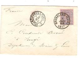 REF3388/TP 48 S/L.Format CV C.BXL (LUX) 7/6/1887 C.Ambulant Valencienne A Paris 7/6/87 > Baugé Maine & Loire C.d'arrivée - Ambulantes