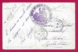 """Écrit Sur Carte Postale Daté De 1919 - Armée Française Du Rhin - Timbre """"Service Des Chemins De Fer Aux Armées"""" - Zona Francesa"""