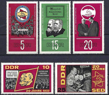 Germany GDR 1966 - Mi 1173/77 - YT 870/74 ( 20th Anniversary Of The Socialist Party ) MNH** Complete Set - Nuovi
