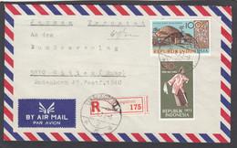 """LETTRE RECOMMANDÉE DE GUNUNGSITOLI (NIAS),AVEC TIMBRES """"ARTS ET CULTURES"""" POUR WITTEN,ALLEMAGNE.1973. - Indonesia"""