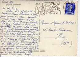 MEGEVE Haute Savoie 1960 SECAP Illustrée Ete Hiver (dreyfus MEG109) Muller 20f Bleu N° YT1011B, Vue Générale Sous La Nei - Sellados Mecánicos (Publicitario)