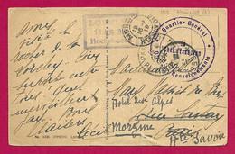 """Écrit Sur Carte Postale Daté De 1919 - Armée Française Du Rhin - Timbre Humide """"Q.G. - Office Des Renseignements"""" - French Zone"""