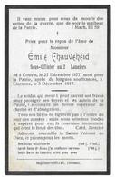 Souvenir Soldat E.Chauveheid Sous-officier 2° Lanciers Couvin Lierneux 1877-1917 Guerre 14-18 - Devotieprenten