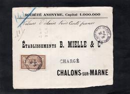 Devant D'enveloppe Pour CHALONS Sur MARNE (CHARGE) - Cachets BUSSIERES Les BELMONT (Hte Marne) Sur Type Merson YT 120 - 1877-1920: Semi-Moderne