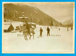 Chamonix 1908 * Tailing Ski-kjöring Vers Les Plans (croix En Bois Disparue) * Photo Presse 11 X 16cm - Lugares