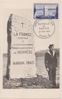 FRANCE 1952 CARTE MAXIMUM  1er Jour Narvik N°YT 922 Cachet Paris 28.5 1952 Cachet Les Maximalistes Au Dos  10.5 1952 - 1950-59