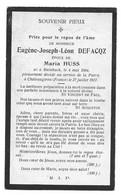 Souvenir Soldat E.Defacqz  Gendarme à Cheval Steinbach (Gouvy) Châteaugiron 1884-1917 Guerre 14-18 - Andachtsbilder