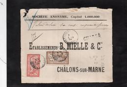 Devant D'enveloppe Pour CHALONS Sur MARNE (CHARGE) -Cachets CHATILLON Sur SEINE (Cote D'Or) Sur Type Merson YT 119 & 120 - 1877-1920: Semi-Moderne