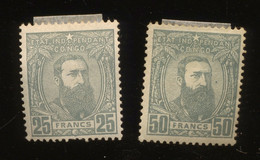 13A Et 13B. Non émis 25F Et 50F * Congo Belge  * Cote 110,-€. Charnières. Bon Centrage - 1884-1894 Precursors & Leopold II
