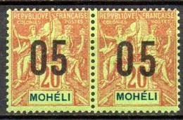Moheli: Yvert N° 19/19A*; Variété Chiffres Espacés Se Tenant - Neufs