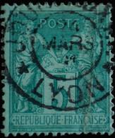 -Sage N°75 Type II  Ob  ( CAD  ) JOURNAUX* LYON - 1876-1898 Sage (Tipo II)